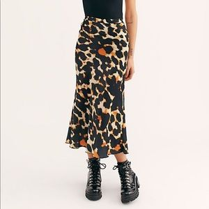 Free people silk cheetah print skirt